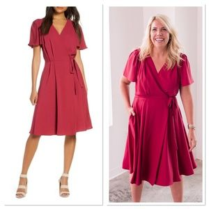 NWT Gal Meets Glam Kinsley Flutter Sleeve Dress 0